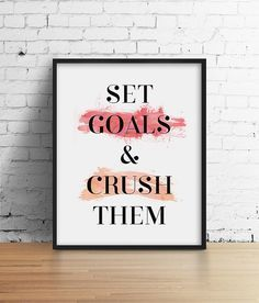 Goal Print Pink Watercolor Boss Feminist Minimal Wall Art