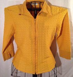 Wmns Fall Fashion Sheer Mustard Yellow w Textured Stripes Zip Front Shirt Blouse | eBay