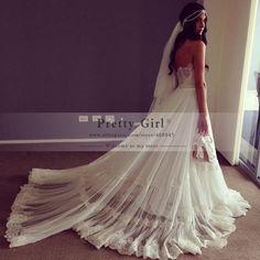 vestido de noiva Romantic Lace Long Train Wedding Dresses 2015 Sexy Sweetheart Backless Garden Boho Wedding Dress Free Shipping