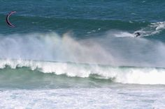 Kite-surfer up close and personal on Long Beach, Kommetjie.  The Cape of Storms in Winter - perfect time and places to indulge this passion. 1 June 2014