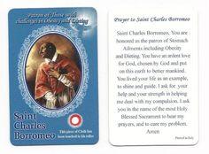 Prayer Card with a Class Relic. Card size: x Saint Charles Borromeo, Prayer Cards, Card Sizes, Live Life, Saints, Prayers, Challenges, God, Inspirational