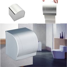 1PCS Space Aluminum Toilet Paper Holder Roll Tissue Case with Cover Dispenser #Affiliate