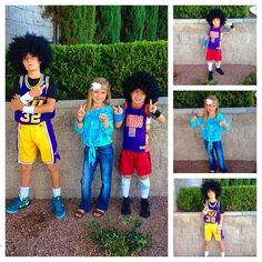 70's Day Throw back basketball jersey, wigs, high socks, sweat bands.  Peace signs, platforms, flare jeans.