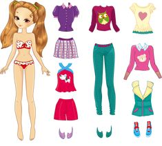 Paper doll of a young beautiful teenager girl and clothes for her - stock vector Paper Dolls Clothing, Barbie Paper Dolls, Paper Dolls Book, Vintage Paper Dolls, Paper Toys, Doll Clothes, Disney Paper Dolls, Paper Doll Template, Paper Dolls Printable
