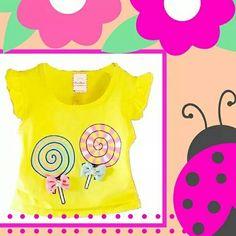 Remera para beba bebé candy  Remera de diseño caramelos Little girl baby Little Glam girl Kids wear Puro Glam Kids