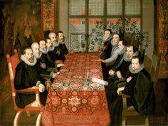 The Somerset House Conference, 19 August 1604. Spanish delegation on the left, English delegation on the right.  Unknown artist, probably Flemish. Has false signature of Juan Pantoja de la Cruz (1553 - 1608).