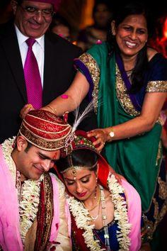 traditional Indian wedding ceremony bride and groom family blessing Aline Indian Wedding Ceremony, Traditional Indian Wedding, Wedding Rituals, South Asian Wedding, Real Weddings, Indian Weddings, Indian Bridal, Bride Groom, Elegant