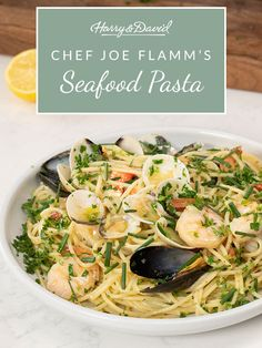 Try this adriatic-inspired seafood pasta on your next dinner night, brough to you by Che Joe Flamm. Seafood Bake, Seafood Pasta, Maine Seafood, Easy Entertaining, Japchae, Stuffed Peppers, Fresh, Dinner, Inspired