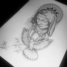 Resultado de imagem para sacred heart of jesus tattoo Daddy Tattoos, Family Tattoos, Tattoos For Guys, Angel Tattoo Designs, Tattoo Sleeve Designs, Sleeve Tattoos, Forarm Tattoos, Rose Tattoos, Tattoo Design Drawings