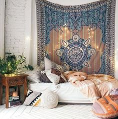 Bohemian bedroom //  shop the style: Tapestry - Carved Wood Nightstand - Pink Duvet Cover - Round White Pillow - Graphic Kilim Pillow - Colorful Floor Pillow - Purple Net Tassel Pillow - Embroidered...