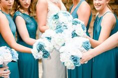 Dusty blue wedding flowers made with all fake flowers that will last forever Cheap Wedding Flowers, Budget Bride, Dusty Blue Weddings, Fake Flowers, Bride Bouquets, Bridesmaid Dresses, Wedding Dresses, Beautiful Bride, Chiffon