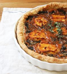 neighborly dishes to share / mushroom & onion (fennel) tart with fig goat cheese