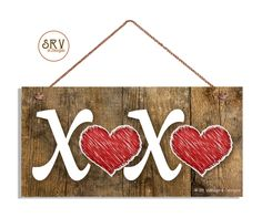 """XOXO Sign, Red Hearts, Hugs and Kisses Sign, Distressed Wood Sign, Rustic Wall Art, 5"""" x 10"""" Sign, Valentine's Day Gift, Made To Order by SRVintageandDesigns on Etsy"""
