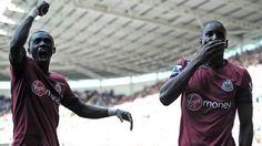 Demba #Ba & Papiss #Cissé (Newcastle United FC)  Demba Ba (R) of Newcastle United FC celebrates with Papiss Cissé after scoring a goal during their English Premier League match against Reading FC