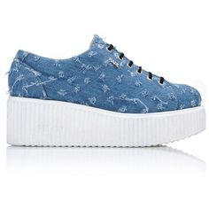 Karl Lagerfeld K/Kreeper Lace Up Denim (€315) ❤ liked on Polyvore featuring shoes, sneakers, indigo, platform lace up shoes, chunky platform shoes, denim shoes, round cap and lace up sneakers