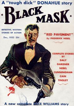 Vintage Black Mask crime fiction pulp magazine cover, december 1932, featuring Frederick Nebel, Erle Stanley Gardner