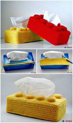 25 kostenlose häkeln Tissue Box Cover Patterns - Diy and Crafts Lego Crochet, Crochet Whale, Crochet Gifts, Diy Crochet, Crochet Teacher Gifts, Crochet Ideas, Box Patterns, Sewing Patterns, Crochet Patterns