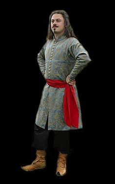 Hungarian costume       Men in Hungary in 16th century were wearing a brocade dolman with red sateen lining, sateen sash and velvet cloak with fur collar. This costume interpretation was inspired by period engraving.