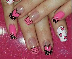 easy valentine's day nail art ideas nail designs; Toe Nails, Pink Nails, Valentine Nail Art, Nails 2018, Toe Nail Designs, Fabulous Nails, Creative Nails, Holiday Nails, Simple Nails