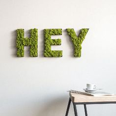 Moss Letters and Symbols: Creative Wall Art Moss Wall Art, Moss Art, Diy Wall Art, Wall Art Decor, Island Moos, Moss Graffiti, Moss Letters, Fleur Design, Natural Home Decor