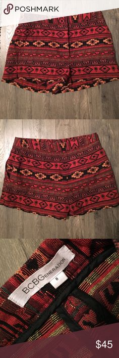 BCBG Generation Aztec Print Shorts Perfect piece for fall! Size 8 - true to size. Never Worn. Aztec Print. Adorable with Tights. Make me an offer :) BCBGeneration Shorts