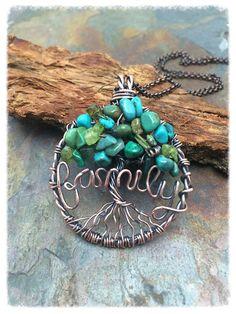 Family Tree Turquoise Gemstone Tree of Life Wire Wrapped Necklace with Chain