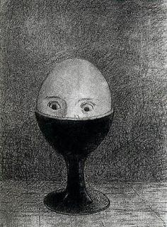 Learn more about The Egg Odilon Redon - oil artwork, painted by one of the most celebrated masters in the history of art. Edgar Degas, Odilon Redon, Illustration Art, Illustrations, Art Database, Renoir, Whimsical Art, Monet, Dark Art