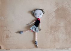 Art Doll Brooch Young Ballerina mixed media collage. $28.00, via Etsy.