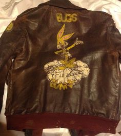 8th Air Force WWII A2 Flight Jacket Painted Bombs Bugs Bunny Vintage Bad Shape