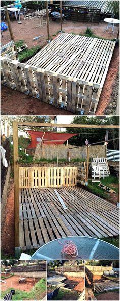 diy pallets made patio terrace