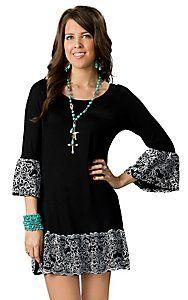 Voll® Womens Black with White Ruffle Trim 3/4 Sleeve Dress