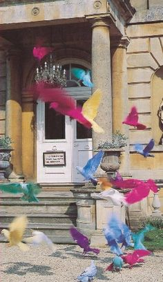 """Fantail pigeons of Faringdon House, Oxfordshire as dyed by Lord Berners in the 1920s. Nancy Mitford referred to the fluttering birds as """"a cloud of confetti in the sky""""."""