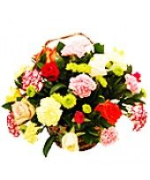 18 Mixed Flowers Bunch (12 Colorful Roses and 6 Colorful Carnations) Exclusive
