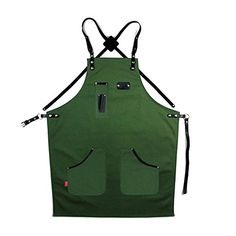 Apron With Utility Pockets Men Women Canvas Adjustable up to L size Apron for Woodworkers Tattoo Hairdresser Butchers Welding Apron, Work Aprons, Barber Shop, Fashion Brands, Pocket, Amazon, Canvas, Quilting, Leather