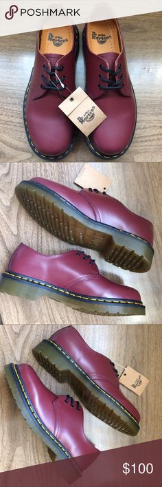 Dr Martens red leather oxfords These are brand new in box. Shipped in another box nicely with the original new box and tissue paper. 🤗 Dr. Martens Shoes