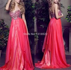 Rhinestones Beaded Coral Chiffon Long Prom Dresses 2015 Sweetheart Sleeveless New Fashion Party Gowns