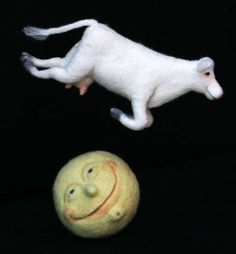 needle felted Cow Jumped Over the Moon by Laura Lee Burch Moon Images, Moon Pictures, Over The Moon, Stars And Moon, Sun Moon, Hey Diddle Diddle, Felt Mobile, Needle Felting Tutorials, Needle Felted