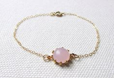 Pearl Pink Bracelet Pale Pastel Pink Minimalist Modern 14k Gold Fill or Gold…
