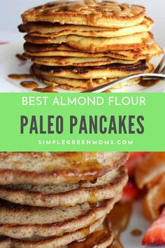 These almond flour paleo pancakes are GRAIN FREE and EASY to make! Your family will LOVE this healthy breakfast recipe! Healthy Low Carb Breakfast, Clean Eating Breakfast, Best Breakfast Recipes, Brunch Recipes, Paleo Recipes, Real Food Recipes, Flour Recipes, Breakfast Ideas, Free Recipes