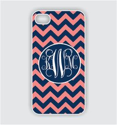Need!  I love navy blue,  coral and monograms.  How perfect!