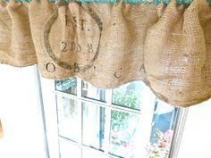 Burlap Sack Curtain Tutorial (she even shows you how to do the graphic)