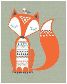 Fox Illustration 8x10 Print by helenrobin on Etsy