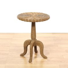 Ethan Allen Pineapple Base Round End Table Mahogany stain and