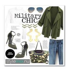 GET Military CHIC @stylemoi.nu by clovers-mind on Polyvore featuring River Island, Patricia Nicolas, ARTICLE22 Peacebomb, Ray-Ban, CasualChic, military, 2015, styleessentials and StyleMoiPromoter