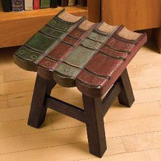 Book Lovers Stool: Rest your feet on a row of books while you read. This attractive little stool might also serve as a plant stand, a step-up, or seating in a child's room Book Lovers Gifts, Book Gifts, Book Furniture, World Of Books, Book Nooks, I Love Books, Decoration, Book Art, Home Decor