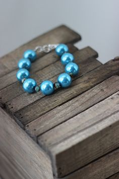 Caribbean blue glass pearls with silver plated by chunkysquare, $25.00