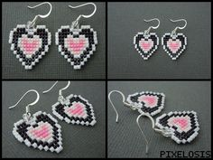 Seed Bead Partial Heart Container Earrings by Pixelosis.deviantart.com on @DeviantArt