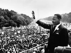 """Martin Luther King Jr. delivers his famous, """"I Have a Dream,"""" speech during the March. (Aug. 28, 1963). Source: U.S. Marines, Creative Commons."""