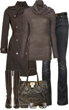 Tan long trench coat, scarf, blouse, jeans, handbag and long boots for fall Fun and Fashion Blog