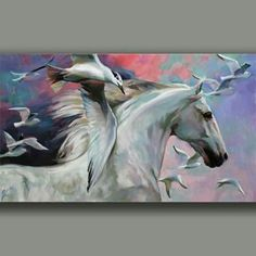 Exciting Learn To Draw Animals Ideas. Exquisite Learn To Draw Animals Ideas. White Horse Painting, Abstract Horse Painting, Knife Painting, Horse Drawings, Animal Drawings, Art Drawings, Foto Fantasy, Horse Artwork, Animal Sketches